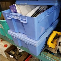 2 BLUE BINS OF CRAFT SUPPLIES