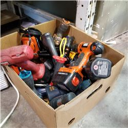 BOX OF CORDLESS DRILLS