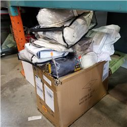 BOX OF CURATINS, SHEETS, AND BEDDING, ETC