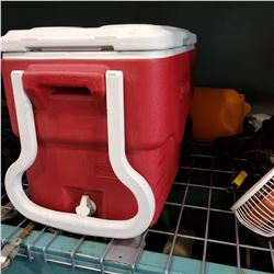 RED ROLLING COLEMAN COOLER AND GOALIE MASK