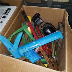 BOX OF BOLT CUTTERS, MASKING TAPE, AND EAR PROTECTION