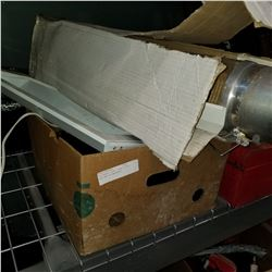 CYLINDER LIGHT, SHOP LIGHT, AND BOX OF BALLASTS