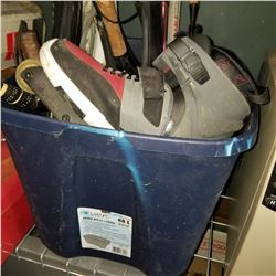BLUE TOTE OF RACKETS AND TRICK ROLLER BLADES