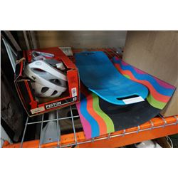 EXERCISE MAT, BIKE HELMET, AND EXERCISE BOARD