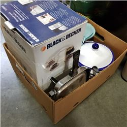 BOX OF KITCHEN APPLIANCES, COFFEE MAKER, AND SOUP TUREEN