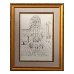 "Salvador Dali- Drypoint ""San Francisco - City Hall (Civic Center) , 1970"""