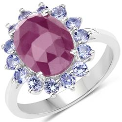 5.53 Carat Genuine Pink Sapphire & Tanzanite .925 Sterling Silver Ring (size 8)