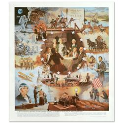 "William Nelson, ""Centennial History of U.S."" This is a Lithograph, Hand Signed by the Artist."