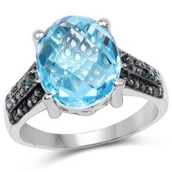 5.51 Carat Genuine Baby Swiss Blue Topaz and Blue Diamond .925 Sterling Silver Ring