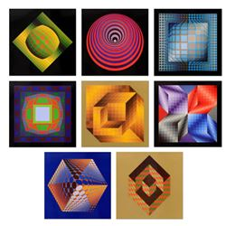 "Victor Vasarely (1908-1997), ""Progressions 3 Portfolio"" Includes 8 Heliogravure Prints, Titled Inver"