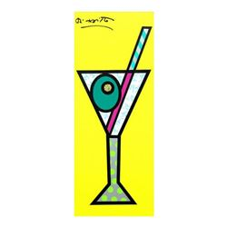 """Romero Britto """"Yellow Martini"""" Hand Signed Limited Edition Giclee on Canvas; Authenticated"""