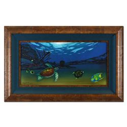 """Wyland, """"Undersea View (With Reef)"""" Framed Original Oil Painting on Canvas, Hand Signed with Certifi"""