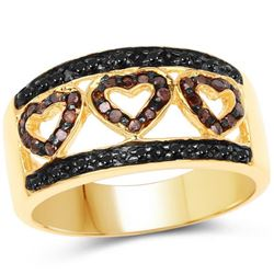 14K Yellow Gold Plated 0.32 Carat Genuine Black Diamond and Red Diamond .925 Sterling Silver Ring (s