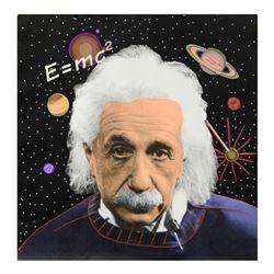 """Steve Kaufman (1960-2010), """"Einstein"""" Hand Painted Limited Edition Silkscreen on Canvas from an HC E"""