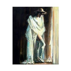 """Fabian Perez, """"Catalina By The Window"""" Hand Textured Limited Edition Giclee on Canvas. Hand Signed a"""