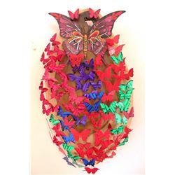 "Patricia Govezensky- Original 3D Metal Art on Wood ""Butterfly Effect"""