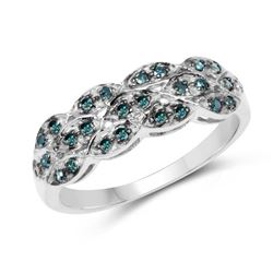 0.31 Carat Genuine Blue Diamond .925 Sterling Silver Ring (size 6)