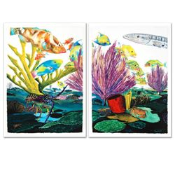 """""""Coral Reef Life"""" Limited Edition Giclee Diptych on Canvas by Renowned Artist Wyland, Numbered and H"""