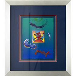 "Peter Max- Original Mixed Media ""Flower Jumper Over Sunrise 2010 Ver. I #33"""