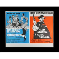 YOU ONLY LIVE TWICE (1967) / A FISTFUL OF DOLLARS (1967) - UK Quad Double-Bill Poster, 1971 Re-Relea