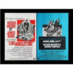 LIVE AND LET DIE (1973) / ON HER MAJESTY'S SECRET SERVICE (1969) - UK Quad Double-Bill Poster, 1974
