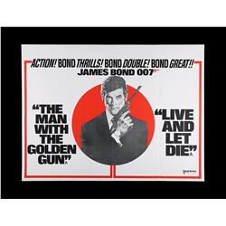 THE MAN WITH THE GOLDEN GUN (1974) / LIVE AND LET DIE (1973) - UK Quad Double-Bill Poster, 1975 Re-R