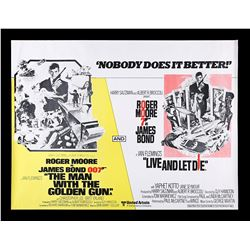 THE MAN WITH THE GOLDEN GUN (1974) / LIVE AND LET DIE (1973) - UK Quad Double-Bill Poster, 1977 Re-R