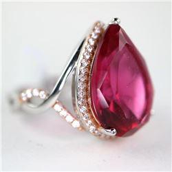 925 Silver Ring Size 8 Pear Cut Ruby Red Swarovski