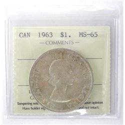 1963 Canada Silver Dollar. ICCS. MS-65. (EXR)