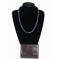 Lava Stone Necklace and Leather Wallet