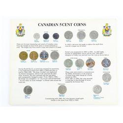Canada 5 Cent Coins 1858-1967 Era Display Board