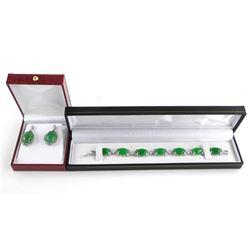 Jadeite Cabochon Stone Bracelet and Earring Set wi