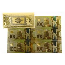 Group of (5) 24kt Gold Canada 100.00 Collector Not