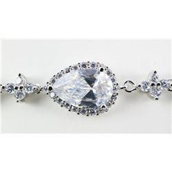 925 Silver Bracelet , Pear Shape Cluster of Swarov