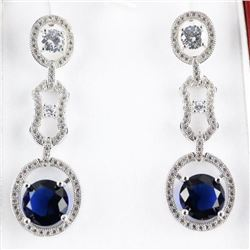 925 Silver Multi Tier Earrings with Sapphire blue