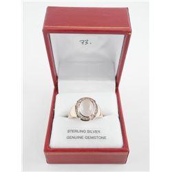 (BB73) 925 Silver Ring oval Cabochon Rose Quartz a