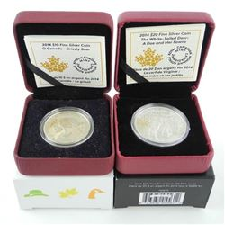 Lot (2) .9999 Fine Silver $10.00 and $20.00 Coins