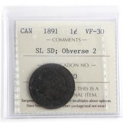 1891 Canada Large Cent VF30 - SL SD ; Obverse 2 IC