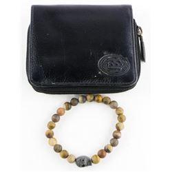 Gents Lava Stone Bracelet Plus Leather Wallet