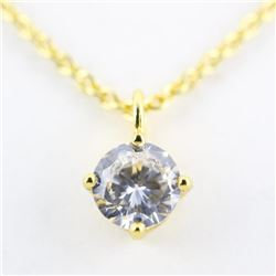 18kt Gold Plated Solitaire Necklace 1ct Swarovski