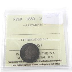 NFLD 1880 10 Cent F-15. ICCS.