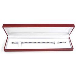 925 Silver Tennis Style Bracelet Fine setting in S