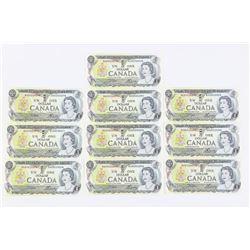 Lot (10) Bank of Canada 1973 1.00 (BAX) Prefix, GE