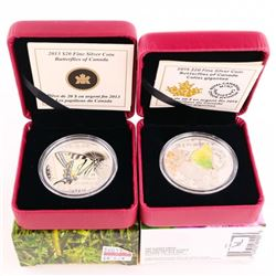 Lot (2) .9999 Fine Silver $20.00 Coins Butterflies