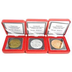 Guatemala Pattern Coins 1995 - 1, 10, 50 Quetzales