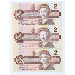 Lot (3) 1986 Bank of Canada 2.00 Small B - Consecu