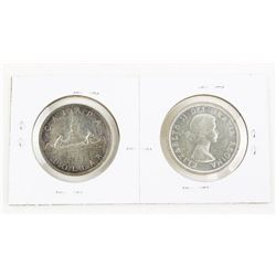 Lot (2) Canada 1953 Silver Dollars: SF and NSF