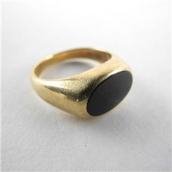 Estate Gents 10kt Gold Bloodstone Ring 6.1g Size 8