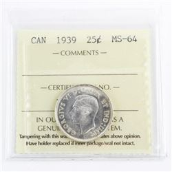 1939 Canada 25 Cent MS64. ICCS. (MKR)