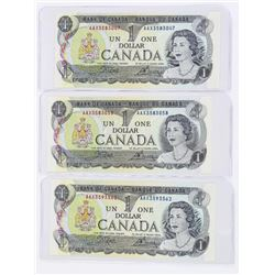 Lot (3) Bank of Canada 1973 1.00 (AAX) Prefix, In